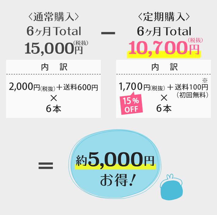 <通常購入>6ヶ月Total 15,000円(税込)−<定期購入>6ヶ月Total 10,200円(税込)=約5,000円お得!